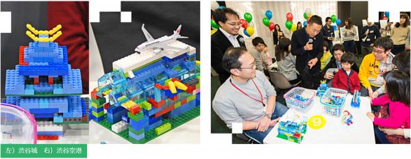 6班は、4歳の女の子とママで「ハート」を、お兄ちゃんとパパで「渋谷城」を制作。