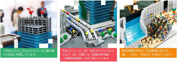 「渋谷スクランブルスクエア」の工事の様子も忠実に再現しています。